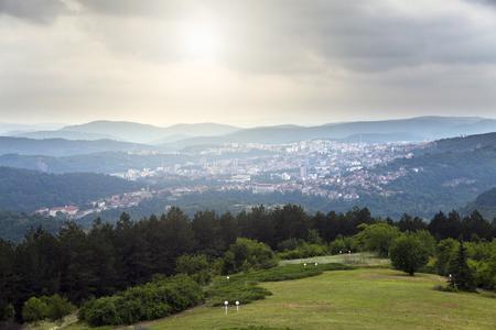 veliko: City view from Veliko Tarnovo - Arbanassi Stock Photo