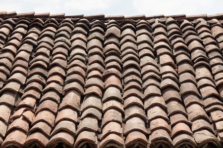 bulgarian: Oldest  bulgarian roof tiles close up detail Stock Photo