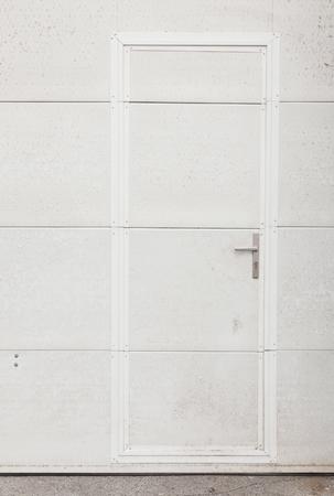 white metal: White metal door of hall, front