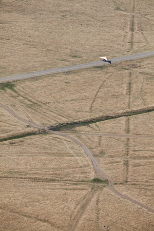 adventure aeronautical: Aerial photo of the glider to land on road