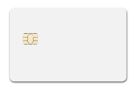 White credit card isolated path, type MC, front, new chip design