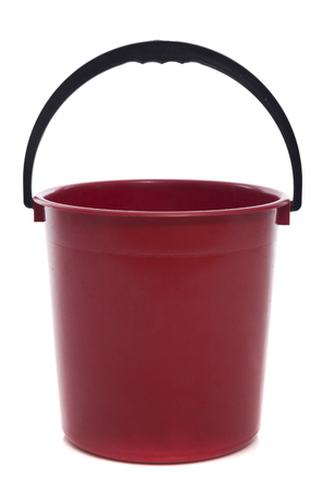 everyday jobs: red bucket isolated on white background