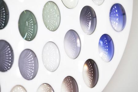 Multicolor glass for lens Stockfoto