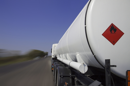 Tanker lorry or truck on a motorway