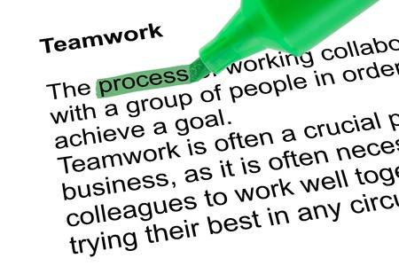 lexicographer: Highlighted word process for Teamwork with green pen over white paper. Isolated white background.