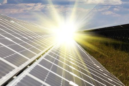 viewfinderchallenge3: Power plant using renewable solar energy with sun Stock Photo