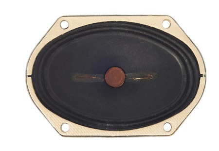 resonate: Old loudspeaker driver, isolated on white background.