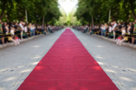 red carpet event: classic red carpet over street Stock Photo