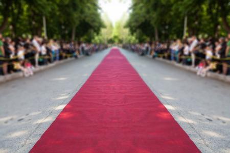 classic red carpet over street Standard-Bild