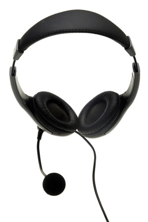 handsfree telephones: Headphones with a microphone isolated on the white background