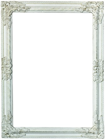 Gold picture frame, painted white. Isolated patch and over white background