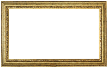 old picture: Gold picture frame. Isolated patch and over white background