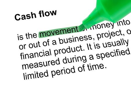 Gemarkeerde woord beweging voor Cash flow met groene pen over wit papier. Geïsoleerde witte achtergrond.
