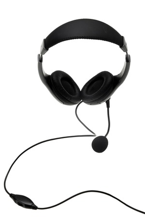 Headphones with a microphone isolated on the white background