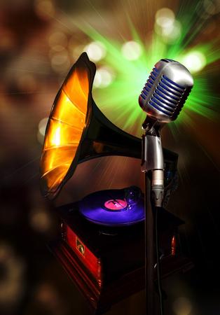 Old type retro microphone with beautiful bokeh 写真素材