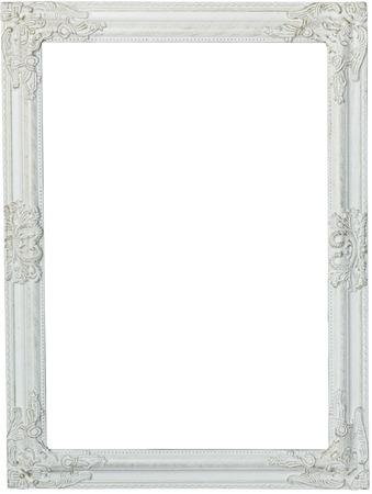 blanc: Cadre photo, peint en blanc. timbre isolé et sur fond blanc