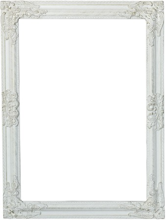 Picture frame, painted white. Isolated patch and over white background Foto de archivo
