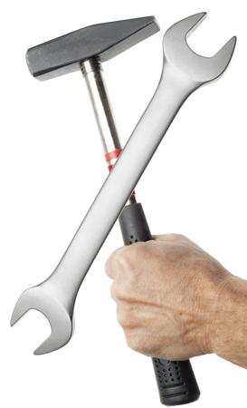 Travailler avec des outils. Isolé sur blanc Banque d'images - 50338538