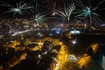 tarnovo: Firework over city Veliko Tarnovo at night