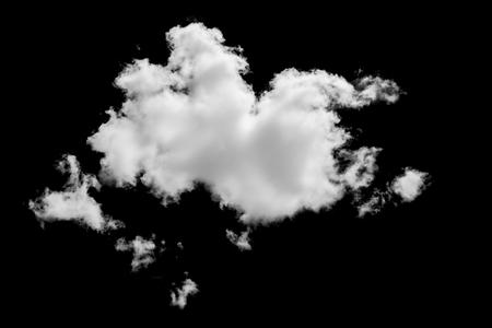 Set van geïsoleerde wolken over zwart. Ontwerpelementen Stockfoto