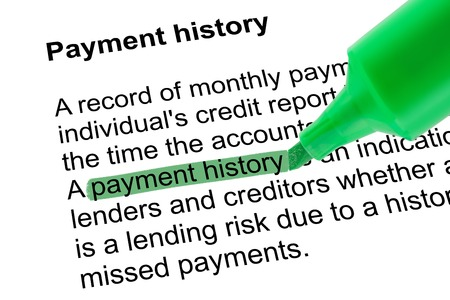 lexicographer: Highlighted words payment history for Payment history with green pen over white paper. Isolated white background.