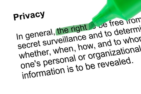 lexicographer: Highlighted word the right for Privacy with green pen over white paper. Isolated white background.