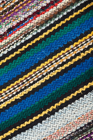 Picture of Bulgarian hand-made rag-carpets, different colors, close up