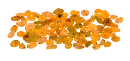Golden raisins isolated on a white background