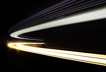 Car light trails in the tunnel. Long exposure photo taken in a tunnel below Veliko Tarnovo 写真素材