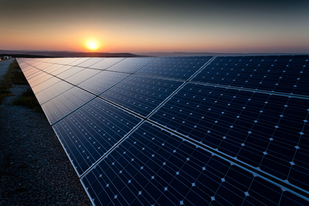 solar equipment: Power plant using renewable solar energy with sun Stock Photo