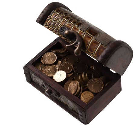 hoard: Open wooden box with coins, isolated on white background
