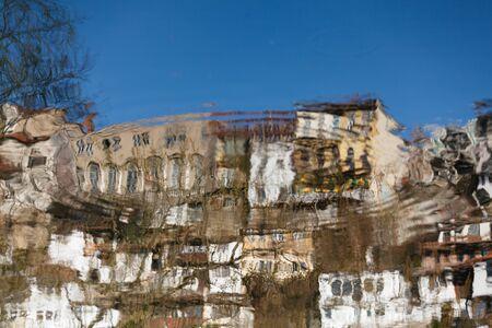 veliko: Reflection in the water of river Yantra Veliko Tarnovo