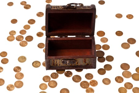 hoard: Open chest and money, isolated over white background