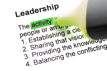 felt tip: The word Leadership highlighted in green with felt tip pen Stock Photo