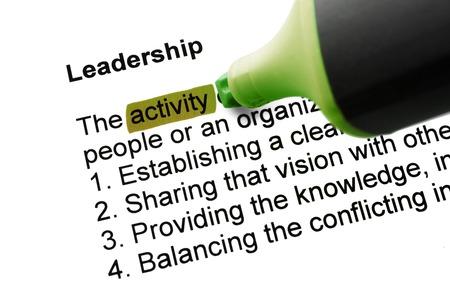 felt tip pen: The word Leadership highlighted in green with felt tip pen Stock Photo