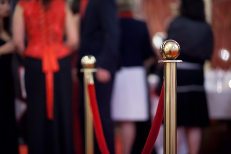Rope barrier on award ceremony, selective focus Stock Photo