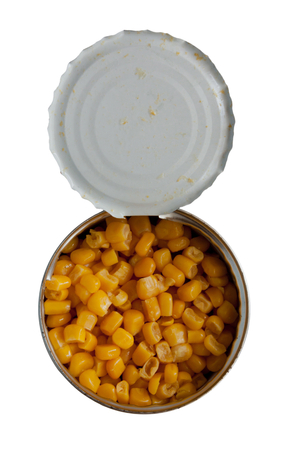 vegetable tin: Opened cans of corn.  Iron packaging, a photo with top, isolated over white Stock Photo