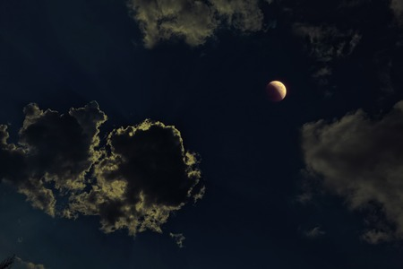 lunar eclipse: Lunar eclipse - 15.06.2011, from Bulgaria.  The initial phase of the full lunar eclipse of the moon to be concealed by clouds