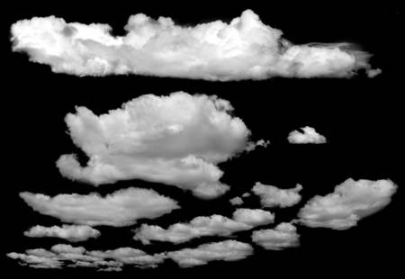 cloud: Set of isolated clouds over black. Design elements Stock Photo