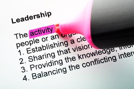 felt tip pen: The word Leadership highlighted in magenta with felt tip pen