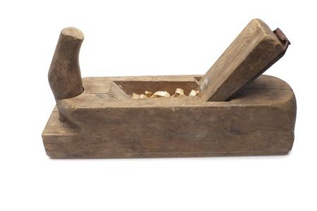 grecas: Alisadora de madera del viejo carpintero aislado en un fondo blanco