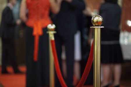 stanchion: Rope barrier on award ceremony, selective focus Stock Photo
