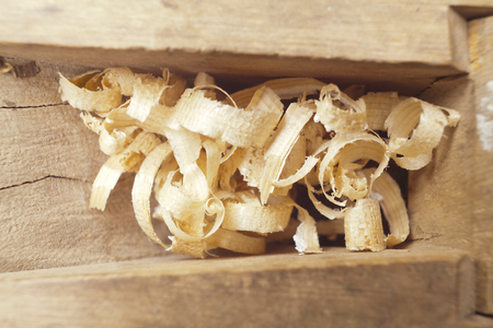 wood planer: Wooden chips into old carpenters wood planer Stock Photo