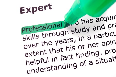 felt tip: The word Expert highlighted in green with felt tip pen
