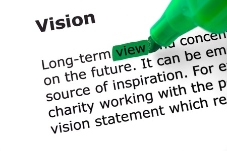 felt tip: The word Vision highlighted in green with felt tip pen Stock Photo