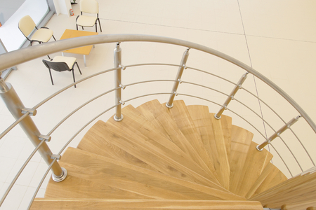 screw, wooden staircase in room