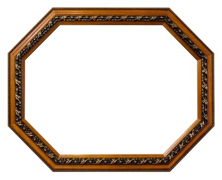 Old octagonal wooden picture frame isolated over white background. Path included. Stock Photo