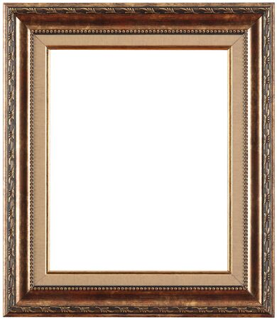 Gold picture frame. Isolated path and over white background. 写真素材 - 135581721