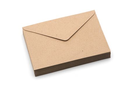 Recycled brown paper craft envelopes isolated on white background