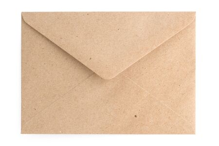 Recycled brown paper craft envelope isolated on white background